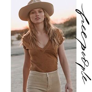 Free People Sun Valley Deep V Neck Distressed Tee